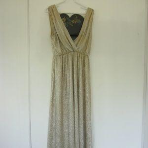 Lulus Sexy V-neck Gold Sleeveless Maxi dress  - XL